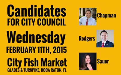 Boca raton city council candidate debate feb 11th city for City fish boca